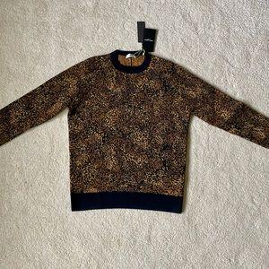 Saint Laurent Paris leopard jacquard wool sweater